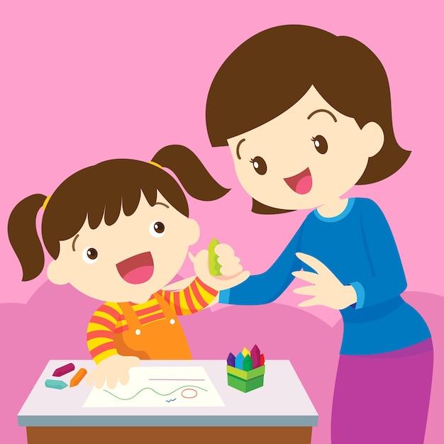 Mama I Dziecko Rysunek Premium Wektorów