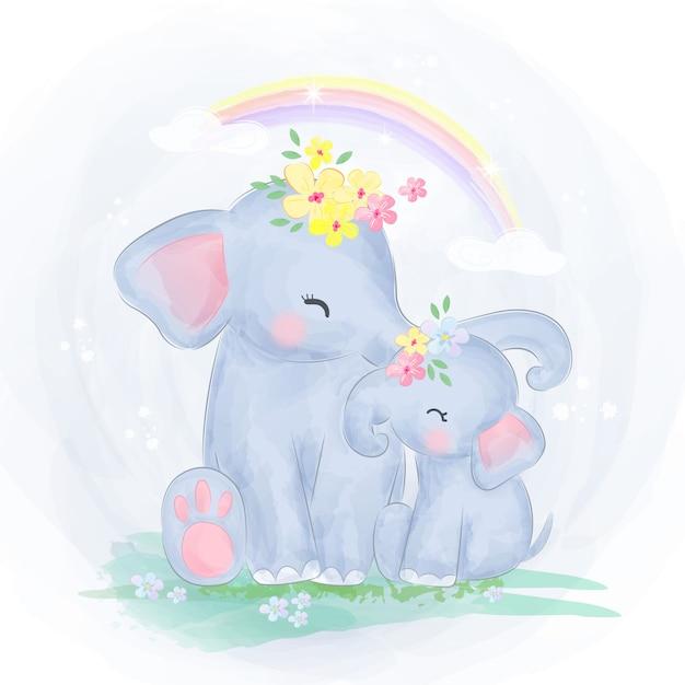 Mama i słoniątko razem Premium Wektorów