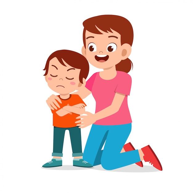 Mama Próbuje Porozmawiać Ze Swoim Gniewnym Chłopcem Premium Wektorów