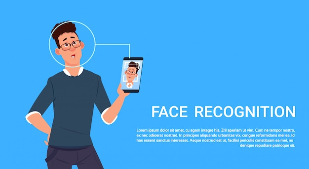 Man hold smart phone scanning face recognition concept biometryczna technologia kontroli dostępu Premium Wektorów