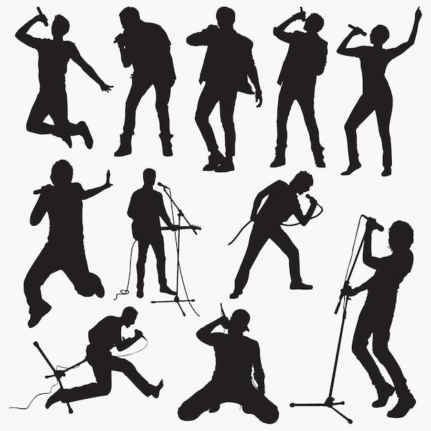 Man Pop Singer Silhouettes Premium Wektorów