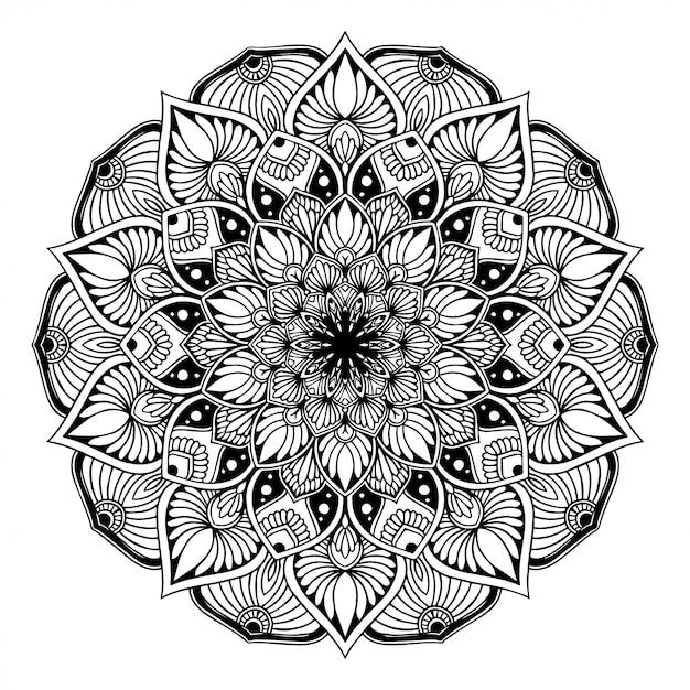 Mandala kolorowanka, orientalne terapia joga doodle Premium Wektorów