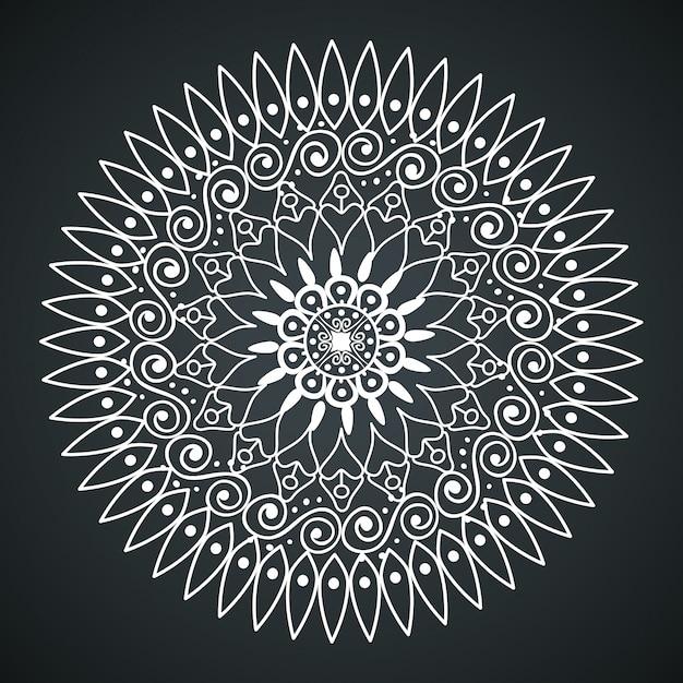 Mandala na biały kolor na białym tle Darmowych Wektorów