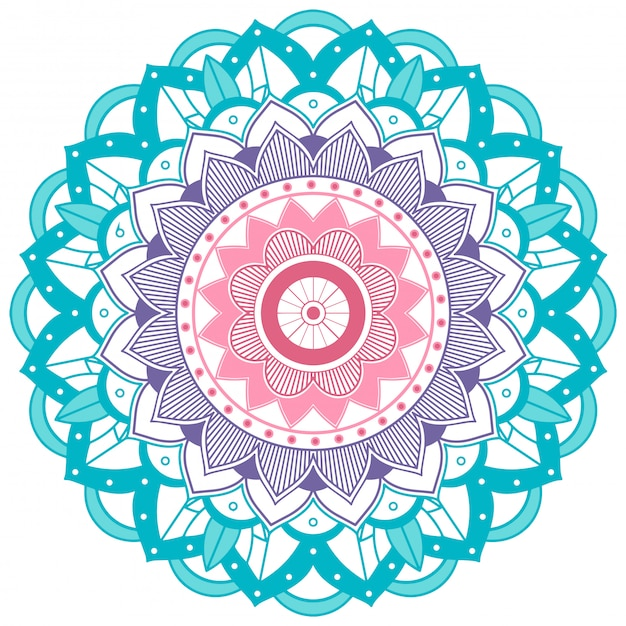 Mandala Niebieski I Fioletowy Kwiat Darmowych Wektorów