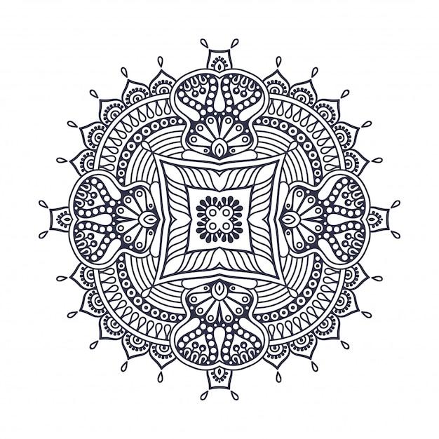 Mandala Okrągły Ornament. Vintage Elementy Dekoracyjne Premium Wektorów