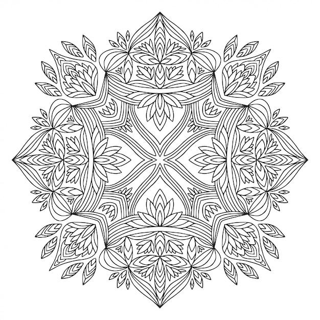 Mandala Ozdobna. Liniowy Wzór Ornamentu. Książka Do Kolorowania. Premium Wektorów