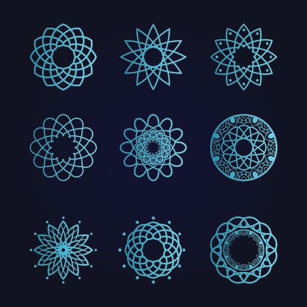 Mandala Sztuka Ornament Kwiatowy Etniczne Gradientowy Kolor Premium Wektorów
