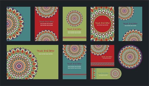 Mandala Vintage Template Card Premium Wektorów