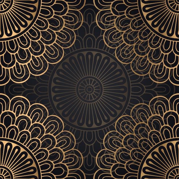 Mandala Wzór Tła W Kolorze Czarnym I Złotym Darmowych Wektorów