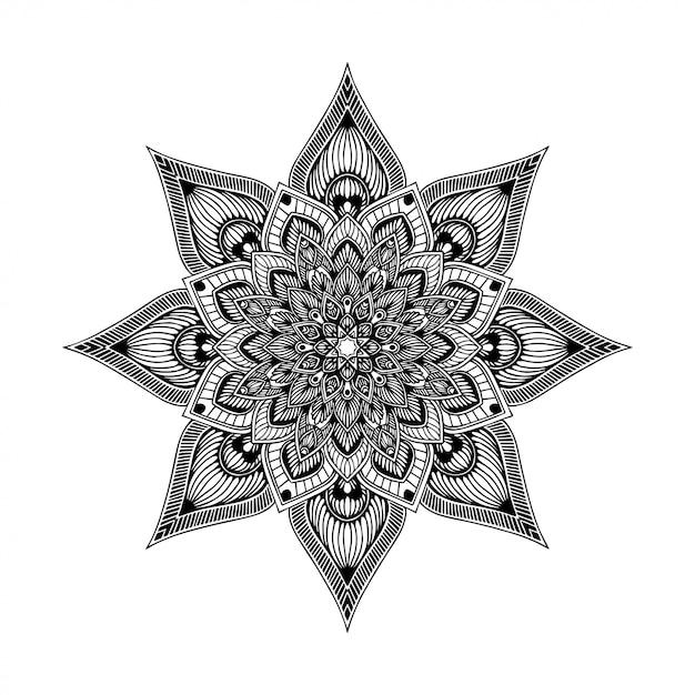 Mandalas kolorowanka, orientalna terapia, joga logo wektorowe. Premium Wektorów
