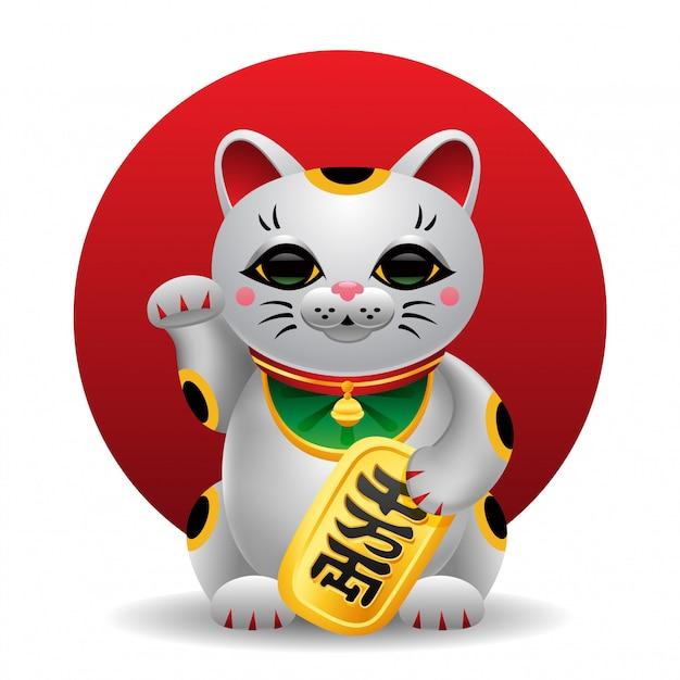 Maneki Neko Japonia Szczęśliwa Kot Ilustracja Premium Wektorów