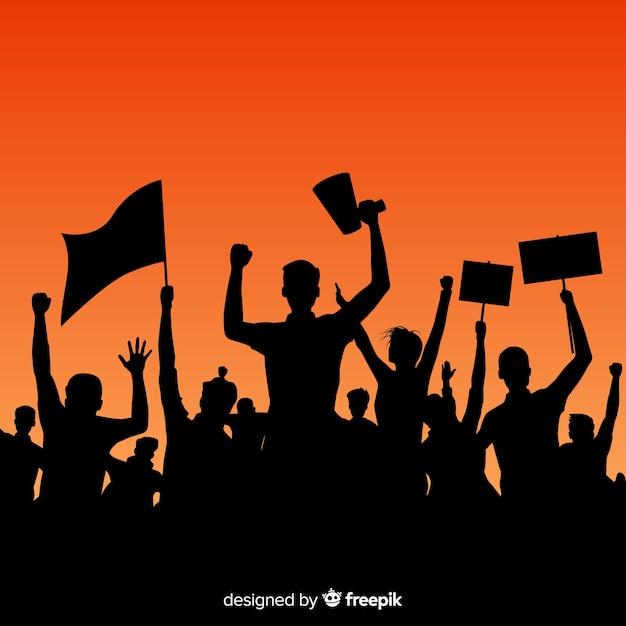 Manifestacja Kompozycji Z Projektem Sylwetki Premium Wektorów