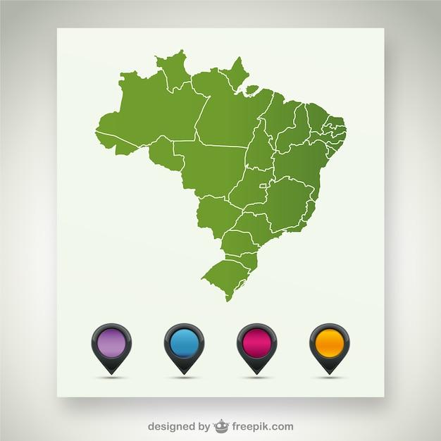 Map wektorowych szablon brazylia Darmowych Wektorów