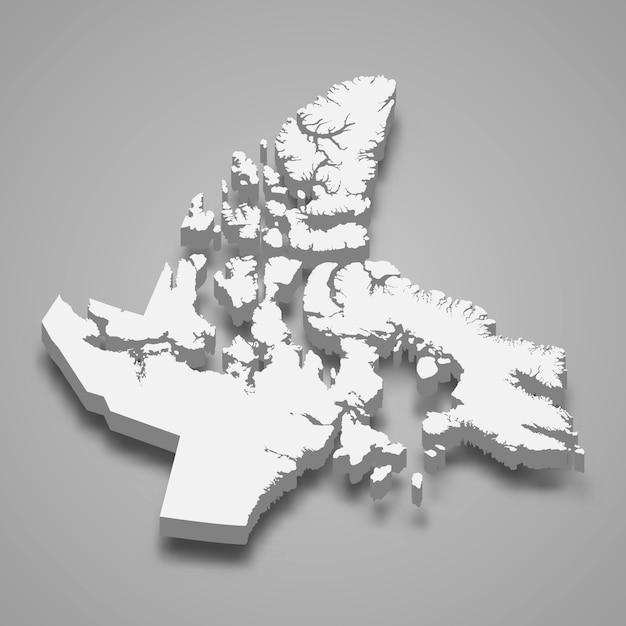 Mapa 3d Prowincji Kanady Premium Wektorów