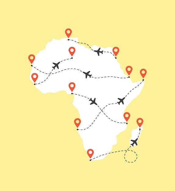 Mapa Afryki Ze ścieżkami Lotów Samolotów Premium Wektorów