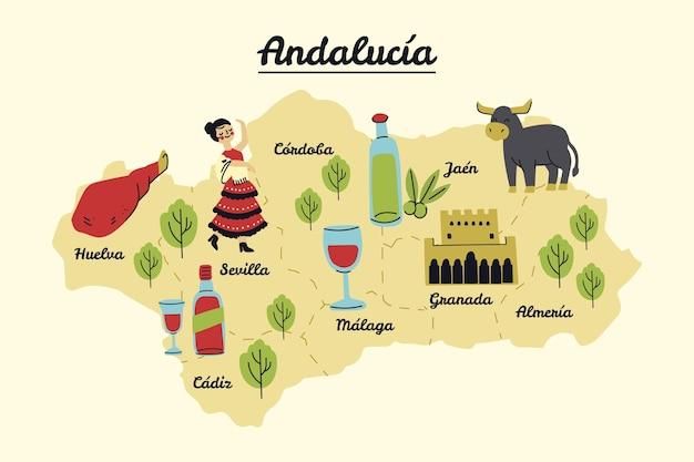 Mapa Andaluzji Z Zabytkami Darmowych Wektorów