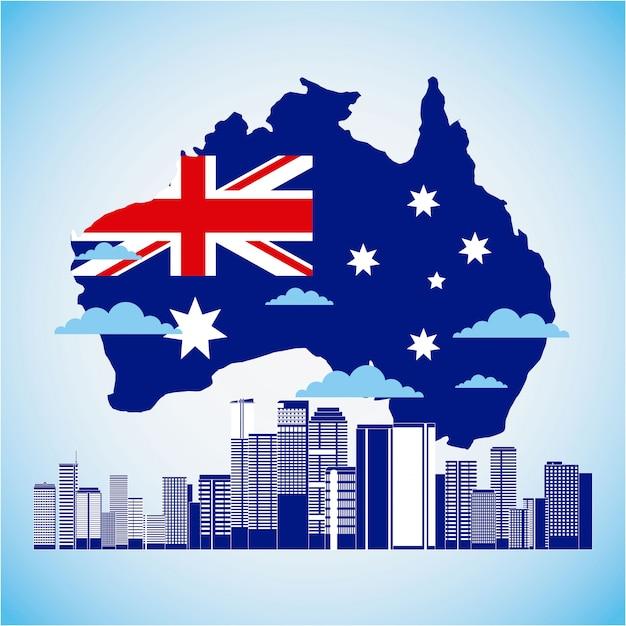 Mapa Australii I Flaga Z Panoramę Darmowych Wektorów