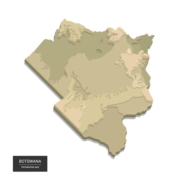 Mapa Botswany - Cyfrowa Mapa Topograficzna Dużych Wysokości. Ilustracja. Kolorowy Relief, Nierówny Teren. Kartografia I Topologia. Premium Wektorów