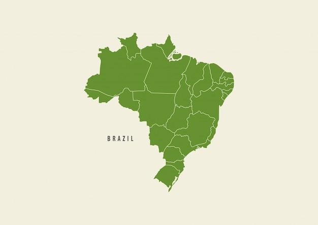 Mapa brazylia zielony samodzielnie na białym tle Premium Wektorów