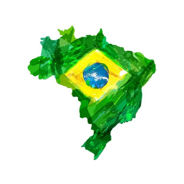 Mapa brazylii Premium Wektorów