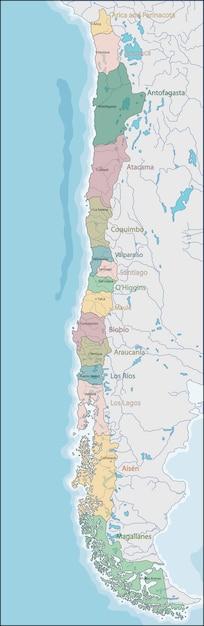 Mapa chile Premium Wektorów