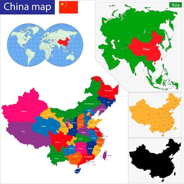 Mapa Chin Premium Wektorów