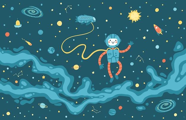 Mapa Drogi Mlecznej Z Uroczym Astronautą I Statkiem Kosmicznym. Premium Wektorów