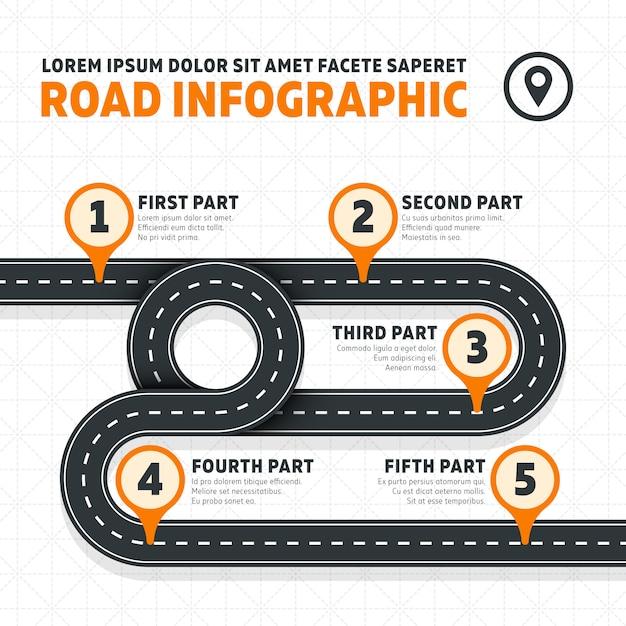 Mapa Drogowa, Ulica, Autostrady Nowoczesnego Biznesu Infografiki. Plan Biznesowy Drogowa Mapa, Ilustracja Premium Wektorów
