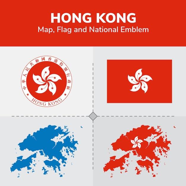 Mapa Hong Kong, Flaga I Godło Państwowe Premium Wektorów