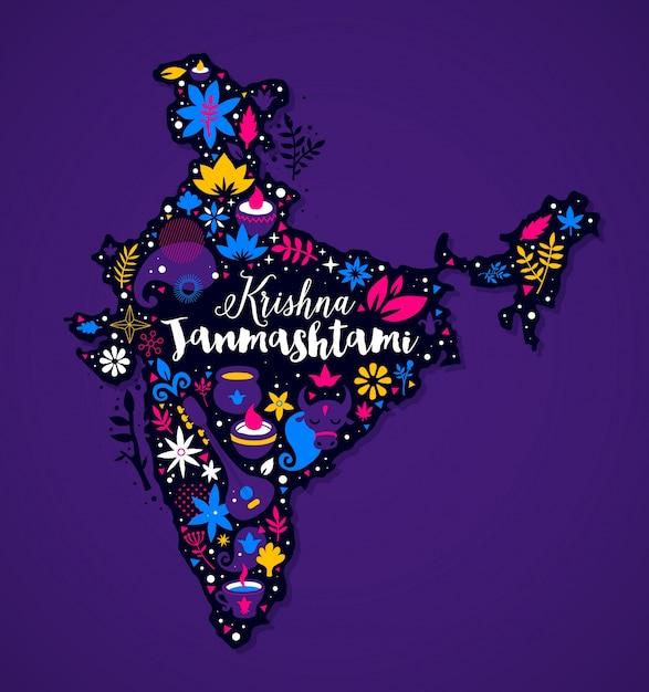 Mapa Indii Z Abstrakcyjnych Elementów Kwiatowych I Krajowych Premium Wektorów