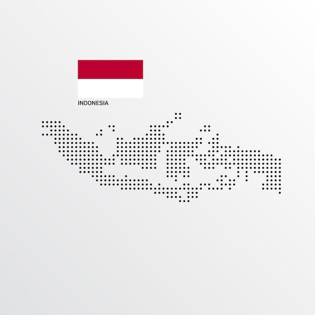 Mapa Indonezji Z Flagą I Jasnym Tle Darmowych Wektorów