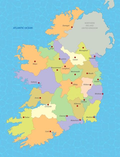 Mapa Irlandii Premium Wektor