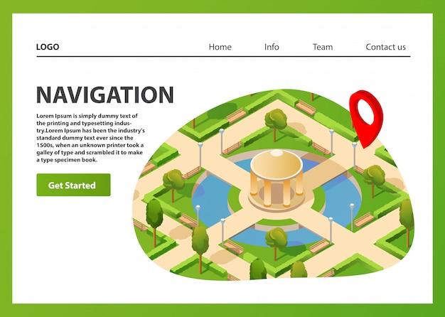 Mapa Izometryczna Mobilna Nawigacja Gps. Publiczny Letni Park Nawigacyjny Pin Czerwony Kolor. Szablon Strony Docelowej. Premium Wektorów