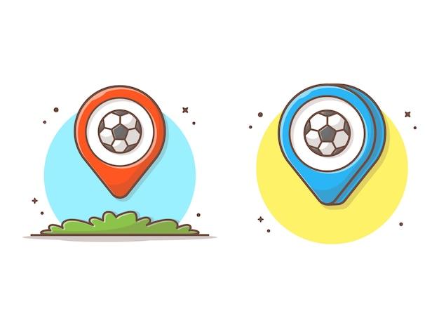 Mapa lokalizacji z piłka ikona ilustracja Premium Wektorów
