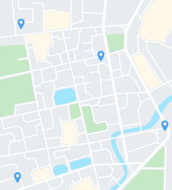Mapa Miasta Streszczenie Z Pinami. Aplikacja Do Nawigacji Premium Wektorów