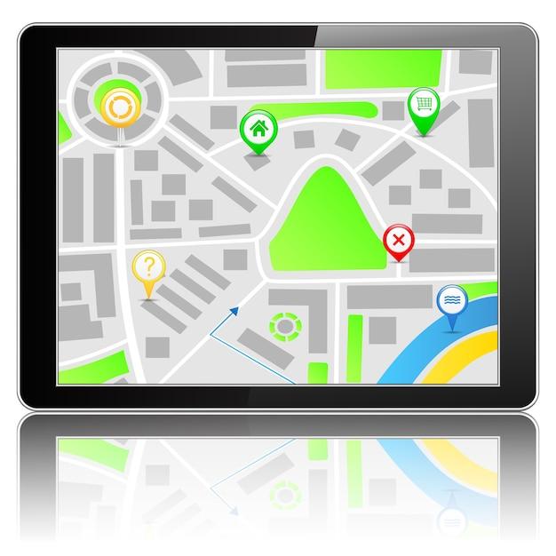 Mapa Na Komputerze Typu Tablet Premium Wektorów