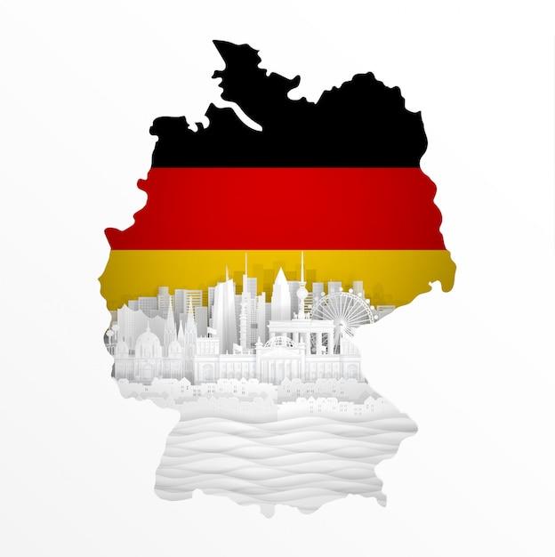 Mapa niemcy z światowymi sławnymi punktami zwrotnymi w papieru cięcia stylu wektoru ilustraci Premium Wektorów