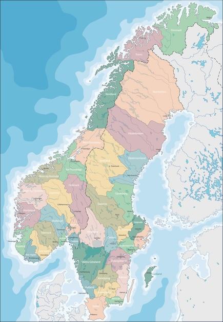 Mapa Norwegii I Szwecji Premium Wektor