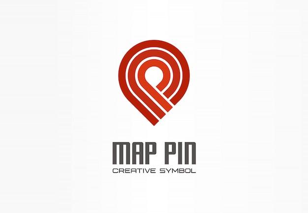 Mapa Pin Koncepcja Symbol Kreatywnej Nawigacji. Zakończ Logo Transportu Biznesowego Znacznika Lokalizacji Gps. Kierunek Znacznika Wyboru Podróży, Ikona Logistyki. Premium Wektorów