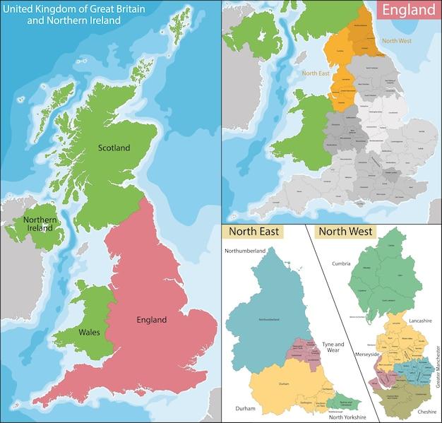 Mapa Polnocno Wschodniej I Zachodniej Anglii Premium Wektor