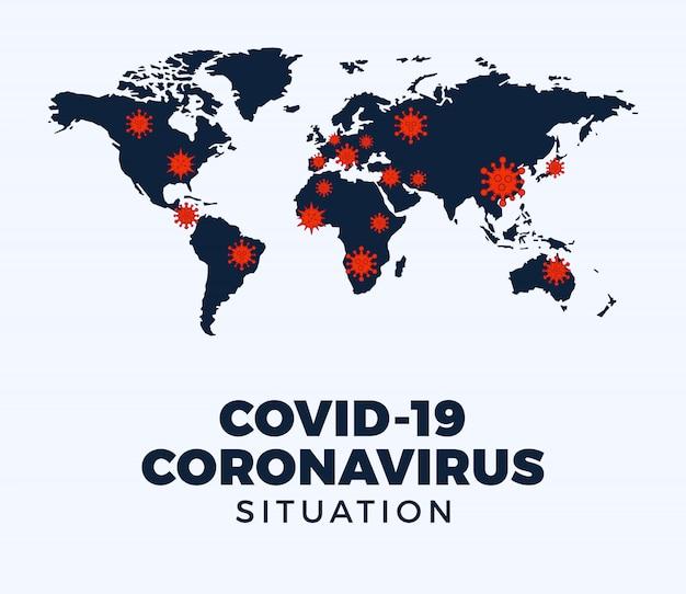 Mapa Potwierdzonych Przypadków Koronawirusa Covid-19 Jest Zgłaszana Na Całym świecie. Aktualizacja Sytuacji Choroby Koronawirusowej 2019 Na Całym świecie. Mapy Pokazują, Gdzie Rozprzestrzenił Się Koronawirus. Ilustracja. Premium Wektorów