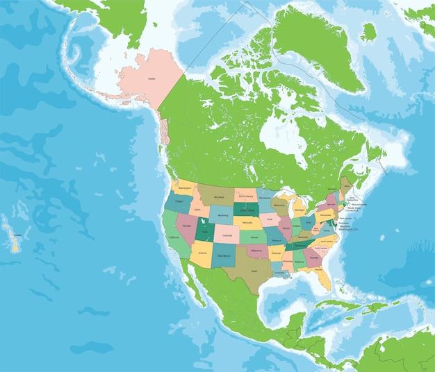 Mapa Stanów Zjednoczonych Ameryki Premium Wektorów