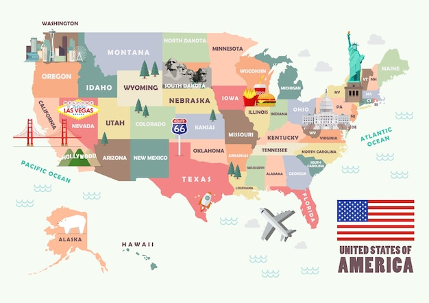 Mapa Stanow Zjednoczonych Ze Slynnymi Atrakcjami Premium Wektor