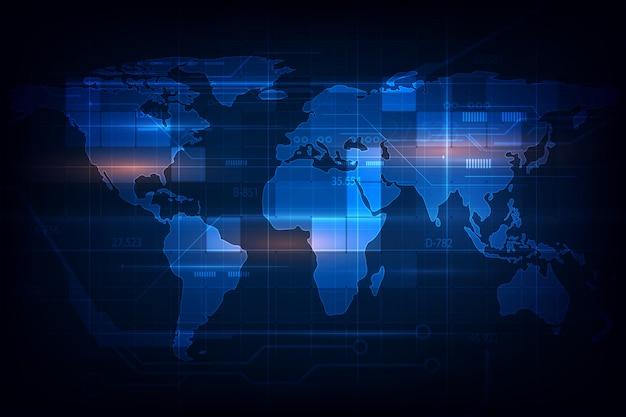 Mapa świata cyfrowa tekstura wzór technologia innowacja Premium Wektorów