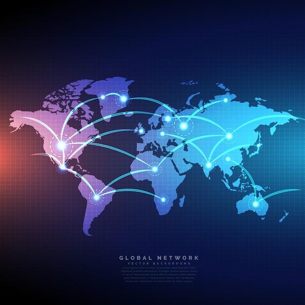 Mapa świata cyfrowego połączone liniami połączeń projektowanie sieci Darmowych Wektorów