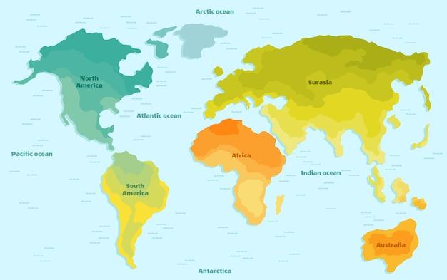 Mapa świata Dla Dzieci Z Kontynentami Premium Wektorów