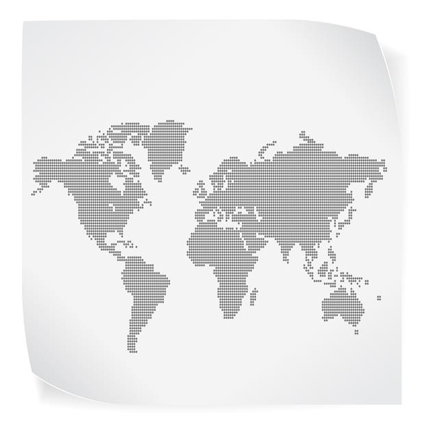 Mapa świata Na Białej Księdze Naklejki Na Białym Tle Premium Wektorów