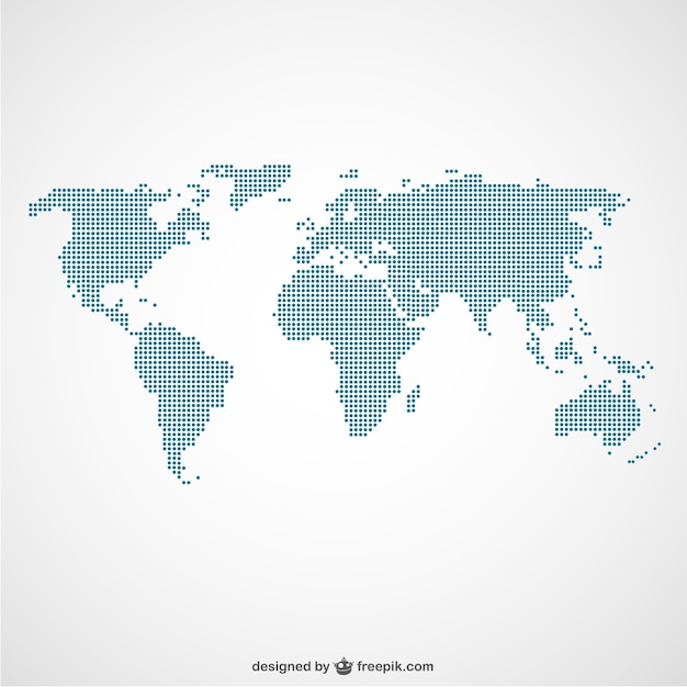 Mapa świata szablon kropki Darmowych Wektorów