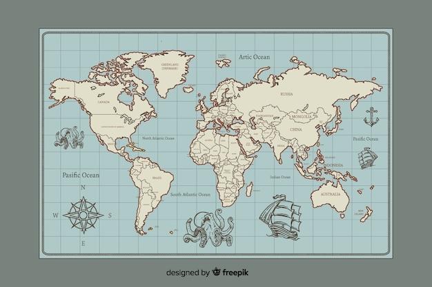 Mapa świata w stylu vintage cyfrowy projekt Darmowych Wektorów