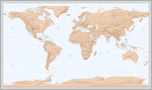 Mapa świata w stylu vintage Premium Wektorów